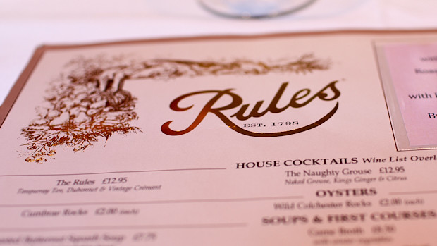 Menu at Rules, London