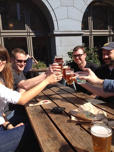 The UserVoice team having beers