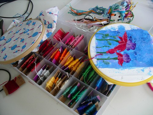Embroidery floss and WIPs