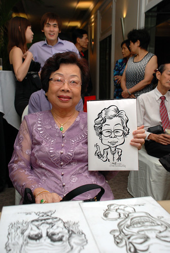 caricature live sketching for wedding dinner @ Goodwood Park Hotel - 4