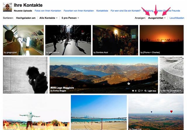 Deutscher Screenshot der neuen Ausgerichteten Ansicht auf Flickr