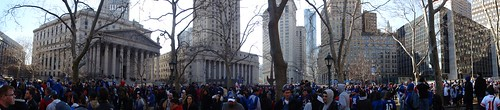 New York Giants Homecoming Parade at Thomas Paine Park