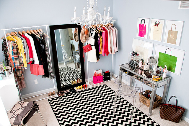 dressing room+ chevron rug via A Cup of Mail blog