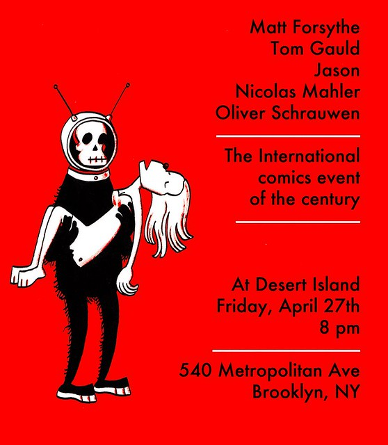 Jason, Nicolas Mahler, Olivier Schrauwen at Desert Island This Friday!