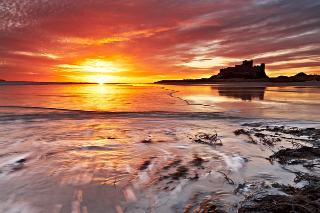 Golden Sunrise At Bamburgh Castle