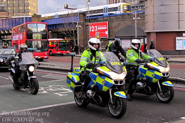 Happy policemen on their motorcycles in London Waterloo IMG_2308, yes, make us feel safe!