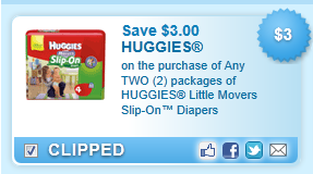 Huggies Little Movers Slip-on Diapers Coupon