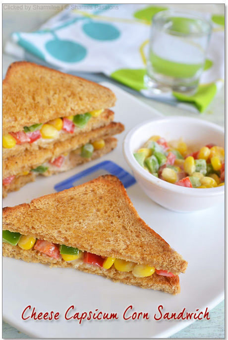 Cheesy Corn Capsicum Sandwich