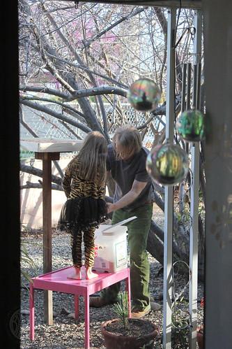 filling the bird feeder