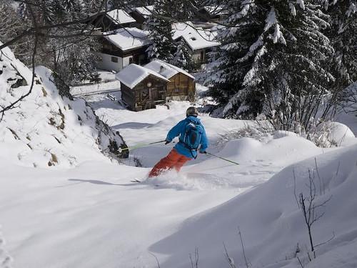 Off-piste skiing into Zinal, Switzerland