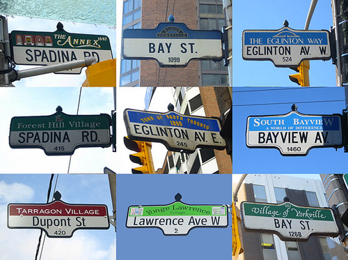 Toronto Street signs typology