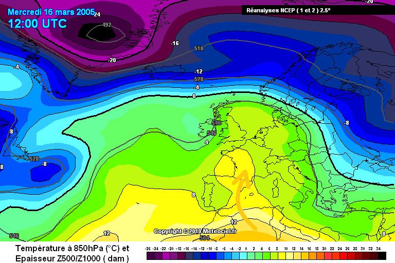 carte des masses d'air de la vague de chaleur en mars 2005 météopassion