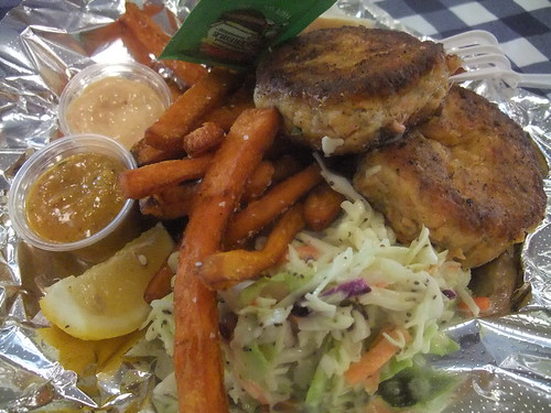 Salmon Cakes with Sweet Potato Fries & Slaw