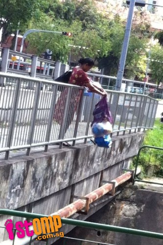 Woman caught dumping bagful of rubbish into drain