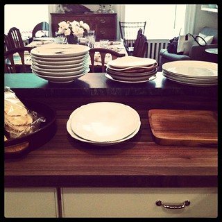 Plates and platters set out the day before