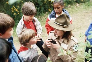 Park ranger Kathy O'Gara in Discovery Park, 1982