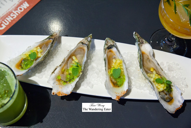 Ace Blade Oysters (from South Carolina), Tajin, tamarind, green apple Gatorade