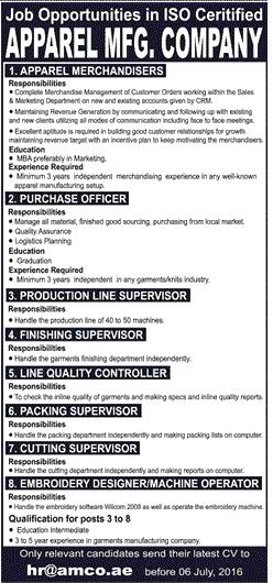 APPAREL Manufacturing Company Jobs