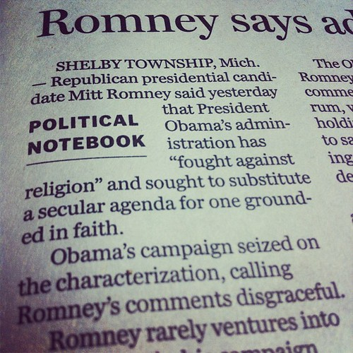 Romney for Pro-Faith Anti-Secular Government by stevegarfield