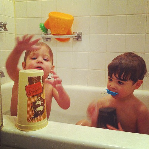 Middle of the day bath time fun