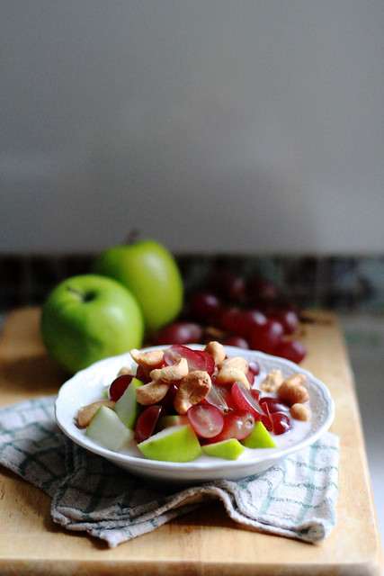 Healthy Yummy Breakfast - Grapes, Apples, Yoghurt, Cashew Nuts