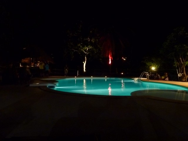 The pool at night where the live music was hosted