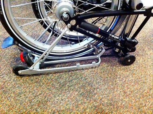 Brompton folded with a rear rack