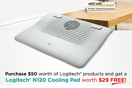 Free Logitech N120 cooling pad worth S$29 for any Logitech product purchases of S$50 and above