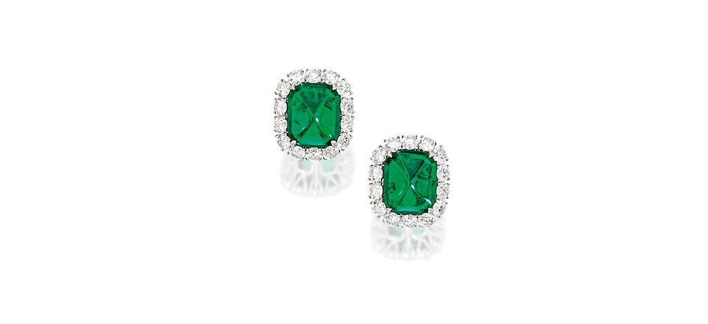 Pair of 9.58 and 9.58-carat Cushion-shaped Sugar Loaf Colombian Emerald and Diamond Earclips.jpg