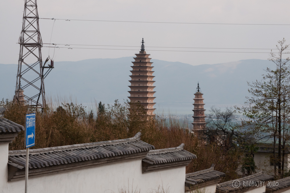 Three pagodas from the hill