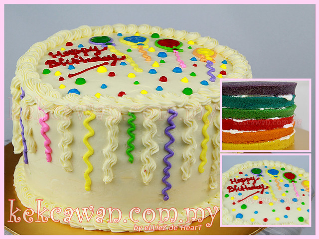 Italian Rainbow Cake with Special Cream Cheese Frosting