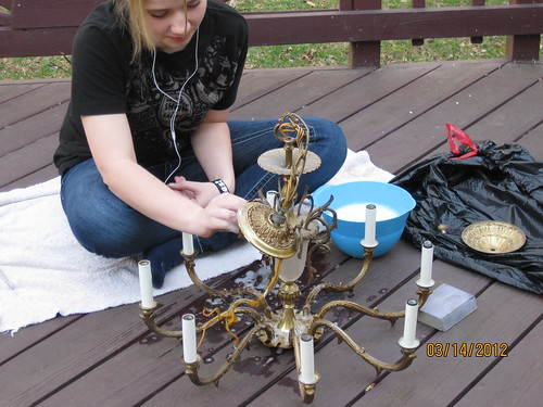 3/14/12 - Rebecca prepping her chandelier for spray painting
