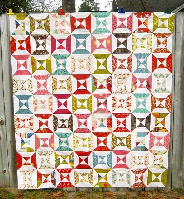 Wonderland Hourglass quilt top complete
