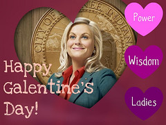 Leslie Knope on a Galentine's Day card