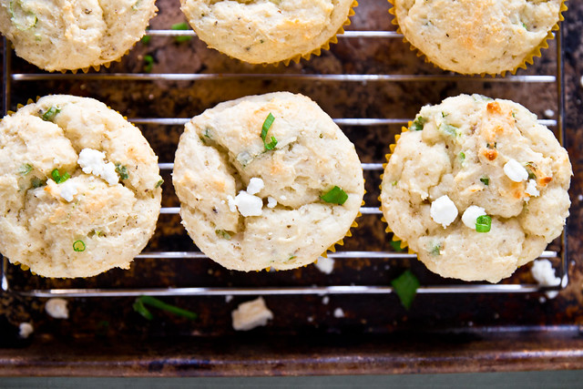 White Corn Muffins with Goat Cheese and Green Onions