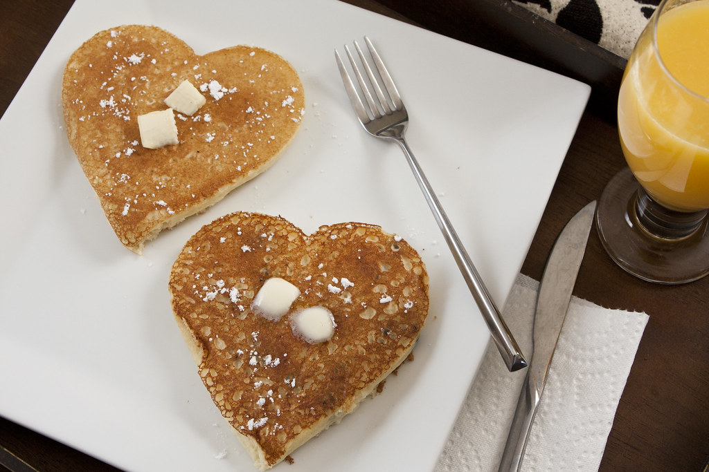 Red Lab No. 27: Heart Shaped Chocolate Chip Pancakes