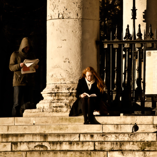 Reading on the Steps