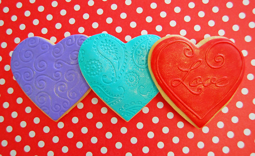 Valentine's Day fondant iced sugar cookies