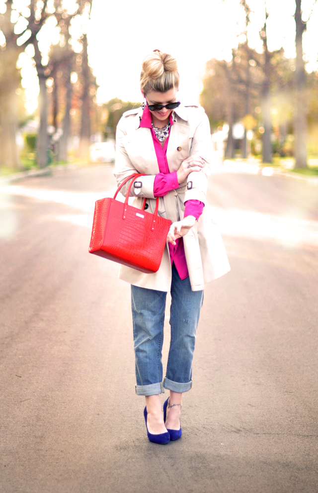 bright red and pink outfit - blue shoes-red bag -burberry trench