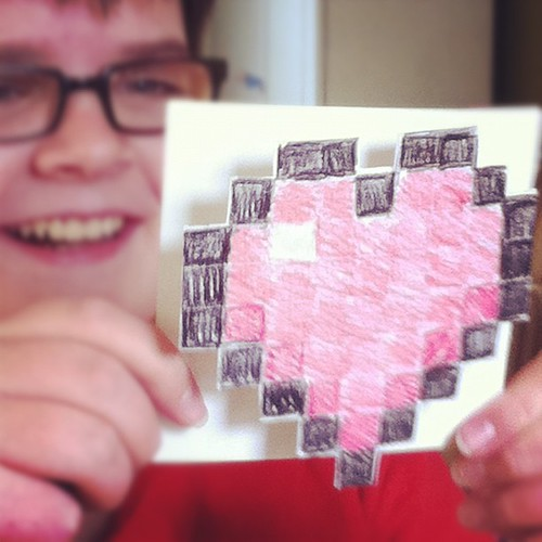 @oliviaconsiders made a #Minecraft Valentine for her brother, Adam