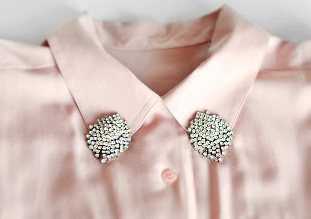 collar tips diy-pink blouse- rhinestone collar