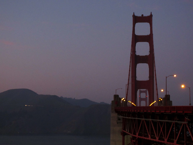 Golden Gate Bridge at sunset POV Presidio.  San Francisco (2011)