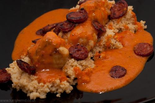 Monkfish, Chorizo, Romesco Sauce