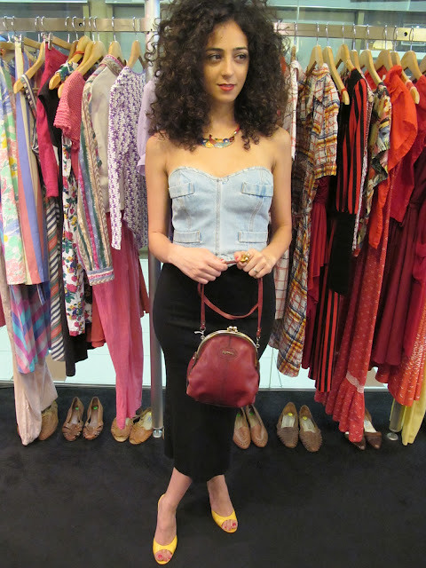 Denim bustier, cloisonne necklace, shoes and vintage maroon sling bag from Granny's Day Out.