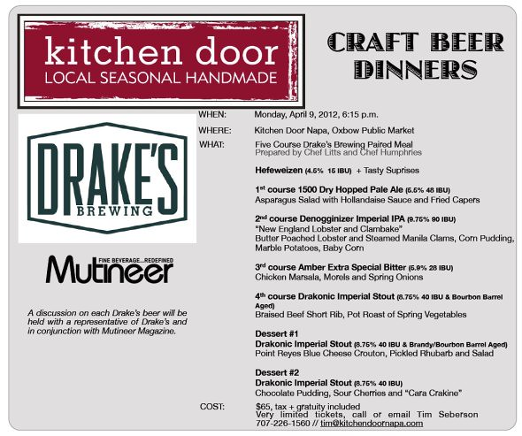 Kitchen Door / Drake's Brewing Craft Beer Dinner