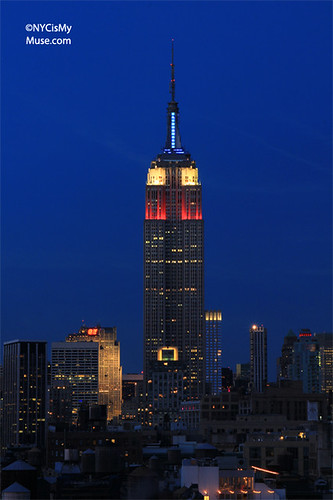 Empire State Building in patriotic Red, White & Blue for Presidents' Day