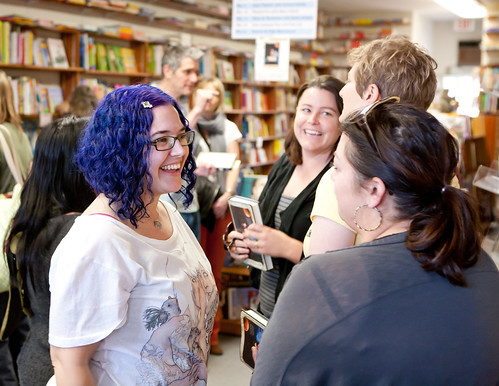 Sara Wilson Etienne mingling at the book launch for HARBINGER