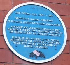 Photo of John Tyndall  blue plaque
