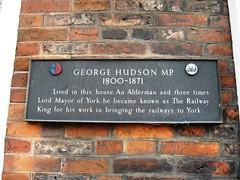 Photo of George Hudson black plaque