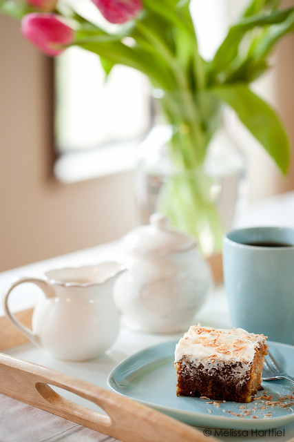Carrot cake, tea, tulips